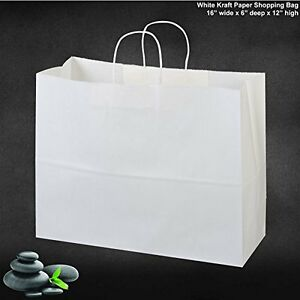 50 Storage Organization Paper Retail Shopping Bags White With Rope Handles