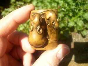 Hand Carved Wood Netsuke Mice Or Rats On Bamboo Boxwood Collectable Figurine