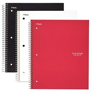 Five Star Spiral Notebooks 3 Subject College Ruled Paper 150 Sheets 11quot