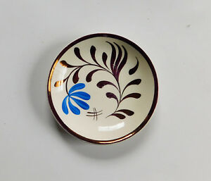 Antique Copper Lustre Luster Butter Pat Plate Stick Painted Grays Pottery
