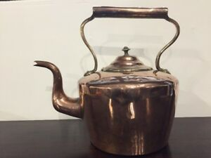 Antique Early Victorian Large Copper Brass Swan Neck Kettle 19th Century