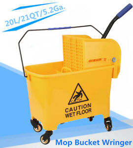 Mini Press Commercial Mop Bucket Wringer 20l 5 2 Gal Yellow Commercial Combo Hp