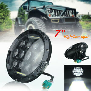 2x 7inch 75w Motorcycle Led Headlight H4 High Low Beam For Harley Black Aluminum