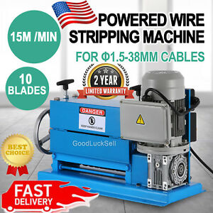 110v 370w Powered Electric Wire Stripping Machine 10 Blades Metal Cable Recycle