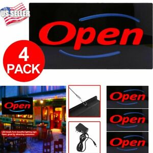4 X Ultra Bright Led Open Sign Business Shop Bar Coffee Club Resin Neon Light Oy