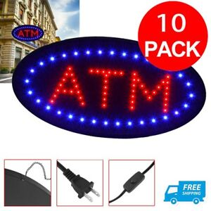 10 Pcs Atm Machine Sign Store Atm Light Box Atm Led Window Sign Ligh Signage Oy
