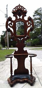 Walnut Victorian Hall Tree Umbrella Stand Turned Walnut Hooks Original Pan