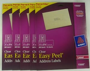 Avery Easy Peel Address Labels Clear 1 X 2 5 8 300 Labels 15660 Laser