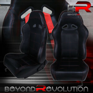 1x Reclinable Black Leather Racing Bucket Seats W Red Stitching Sliders