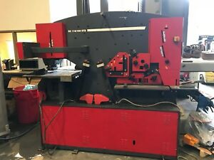 121 Ton Dual Station Iron Worker With Nc Punch Table Ironworker Angle Shear