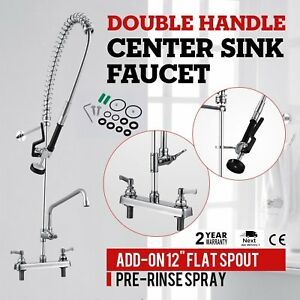 12 Commercial Wall Mount Kitchen Pre rinse Faucet W Add on Restaurant Tap Hd