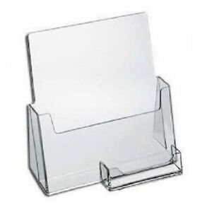 6 Pack Clear Large Brochure Holder With Business Card Flyer Stand Azm Displays