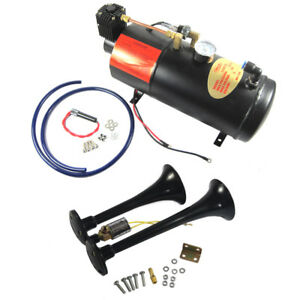 Black Train Horn Kit Loud 2 Trumpet W 120 Psi Air Compressor Complete System