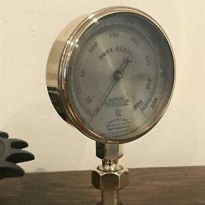 L k Antique American Sg v Test Gauge Brass Steampunk Industrial