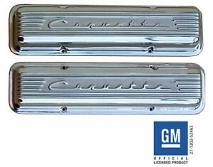 1959 86 Chevrolet Small Block Corvette Script Valve Covers Polished No Holes