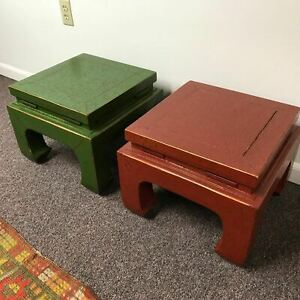 Pair Of Vintage Designer Red Green Lacquered Ming Chinese Style Low Side Table