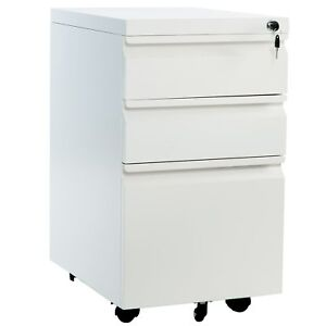 Modern 3 Drawer Wood Mobile File Pantry Cabinet Storage Unit Letter size White
