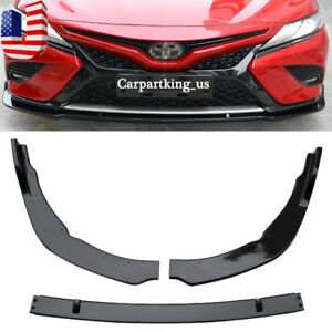 Front Bumper Lip Cover Trim For Toyota Camry 2018 19 Se Xse Abs Gloss Black 3pcs