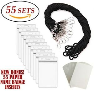 Id Badge Holders Amp Lanyards 55 Sets Black Lanyard And Vertical Name Tags H