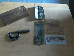 Vintage Brown Sharpe 0 1 Micrometer Caliper 12 Wood Box Instructions Papers