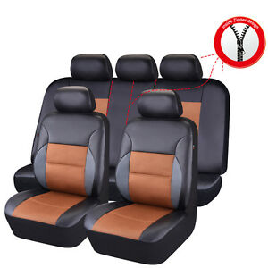 Car Pass Breathable Pu Leather Sandwich Universal Car Seat Cover Fit 40 60 50 50