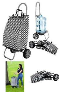 Dbest Products Trolley Dolly Basket Weave Tote Black Shopping Grocery Foldable
