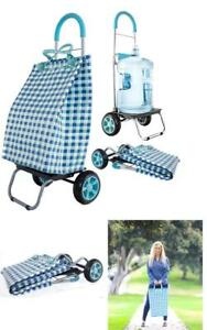 Dbest Products Trolley Dolly Basket Weave Tote Blue Shopping Grocery Foldable C