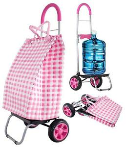 Dbest Products Trolley Dolly Basket Weave Tote Pink Shopping Grocery Foldable C