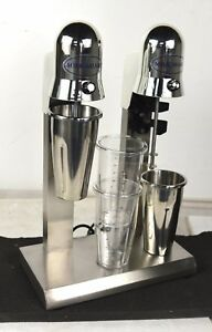 110v Commercil Double Head Milk Shake Mixer Machine Stainless Steel 4 Cups