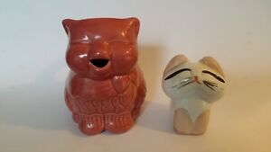 Rare Mccoy Pottery Red Kitty Cat Coffee Creamer Figurine Paperweight Art Deco