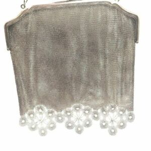 Antique 925 Sterling Silver Mesh Frame Purse 7 By 7 Blue Kyanite Gemstone