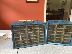 Lot Of 2 Vintage Blue Metal Akro Mills 30 18 Storage Cabinet Hardware Bins