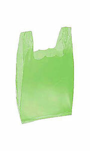 Small Lime Green Plastic T shirt Shopping Bags 8 X 5 X 16 Case Of 2 000