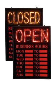 Open closed Led Sign With Hours dry Erase Hours