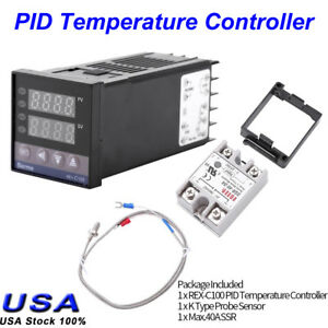 Digital Pid Rex c100 Temperature Controller 40a Ssr K Thermocouple 0 To 400