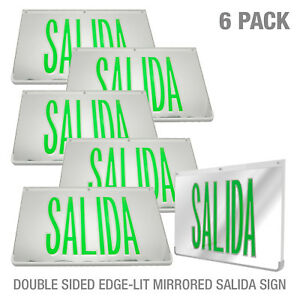 6pack Led Mirrored Green Exit Sign Indoor Emergency Fixtures Fire Lights Panel