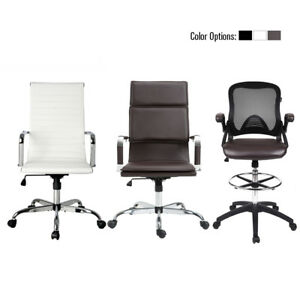 High Back Computer Office Chair Leather Swivel Desk Task Seat Ribbed Mesh Home