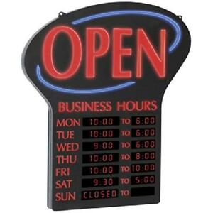 Newon Led Open Sign With Programmable Business Hours And Flashing Effects