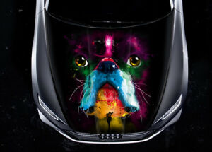 Dog Colorful Paint Car Hood Wrap Full Color Vinyl Sticker Decal Fit Any Car