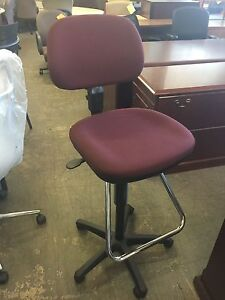 Drafting Chair By Office Star In Burgundy Fabric Pick Up Only
