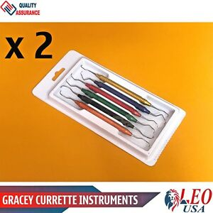 2 Sets Greacey Curette Periodontal Hollow Handle Colored Dental Surgical Scaler