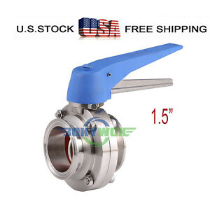 1 5 Sus 304 Sanitary Tri Clamp Multi position Handle Butterfly Valve