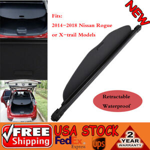 Black Retractable Trunk Cargo Cover Security Shield For 14 18 Nissan Rogue Sv Sl