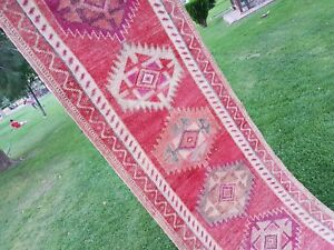 Primitive Vintage 1970s Wool Pile Long Kurdish Kurd Runner Rug 2 9 X 13 5