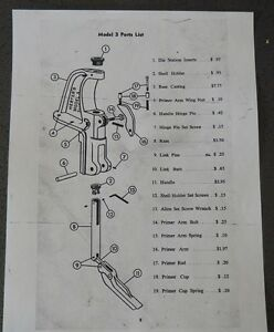 Herter's Super Model 3 Press-Parts List