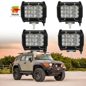 Tri row 4 Led Work Light Bar Flood Beam Offroad 4wd Atv Jeep Truck Pods 4pack