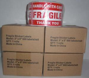 Fragile Handle With Care Big 3 X 5 Red Stickers 4 Rolls 2000 Labels 500 roll