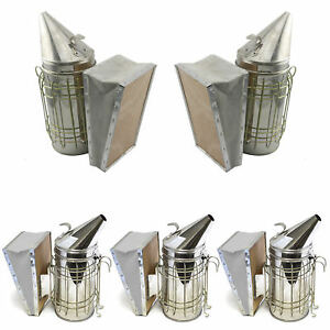 Set Of 5 Bee Hive Smoker Stainless Steel With Heat Shield Beekeeping Equipment