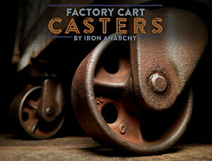 Factory Cart Casters Industrial Coffee Table Wheel Cast Iron Metal Vtg Antique