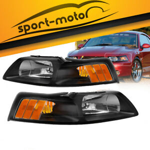 Black Housing Headlights For 1999 2004 Ford Mustang Replacement 99 04 Left right